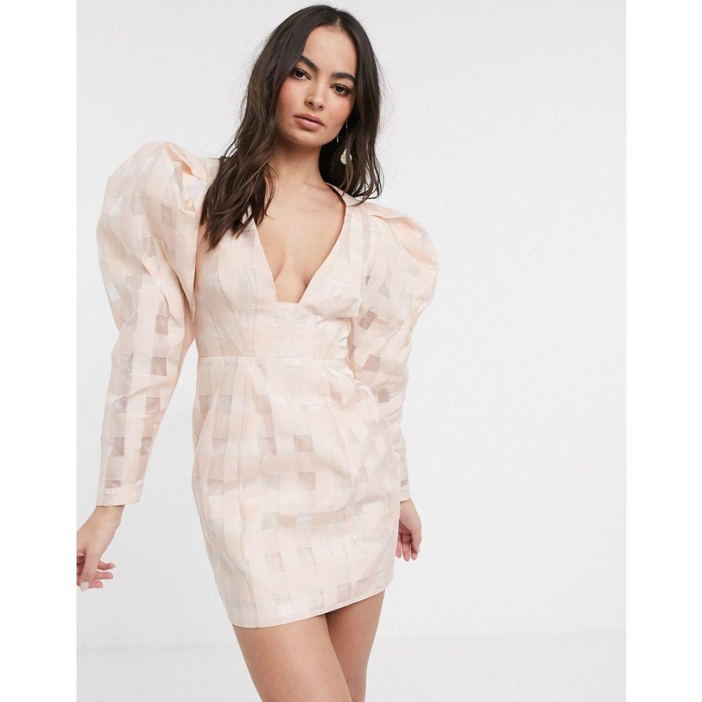 エイソス ASOS EDITION レディース ワンピース ミニ丈 ワンピース・ドレス【organza check mini dress with extreme sleeve】Pink/white