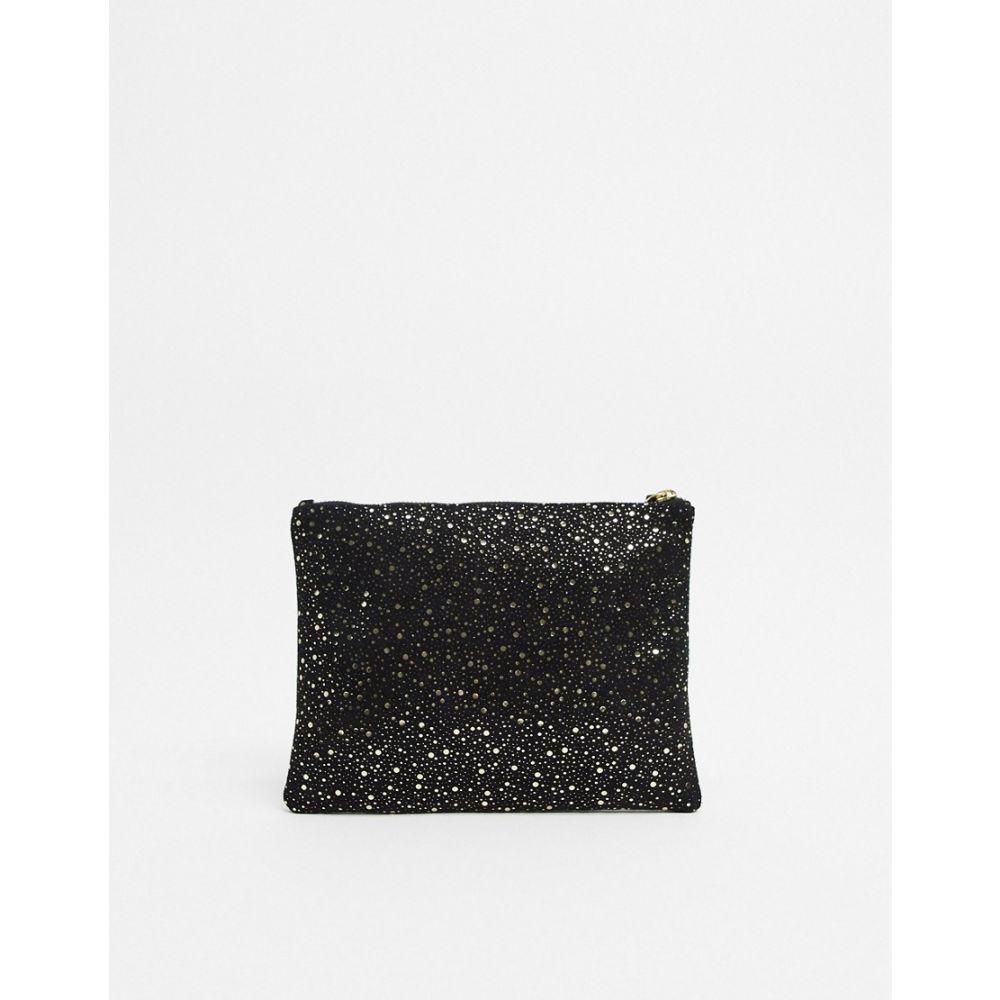 イチ Ichi レディース クラッチバッグ バッグ【metallic splatter real suede clutch bag】Black