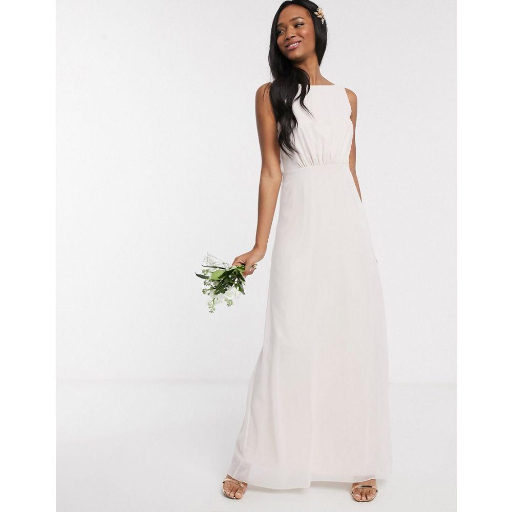メイドトゥーメジャー Maids to Measure レディース ワンピース ワンピース・ドレス【bridesmaid cowl back chiffon dress】Cream soda