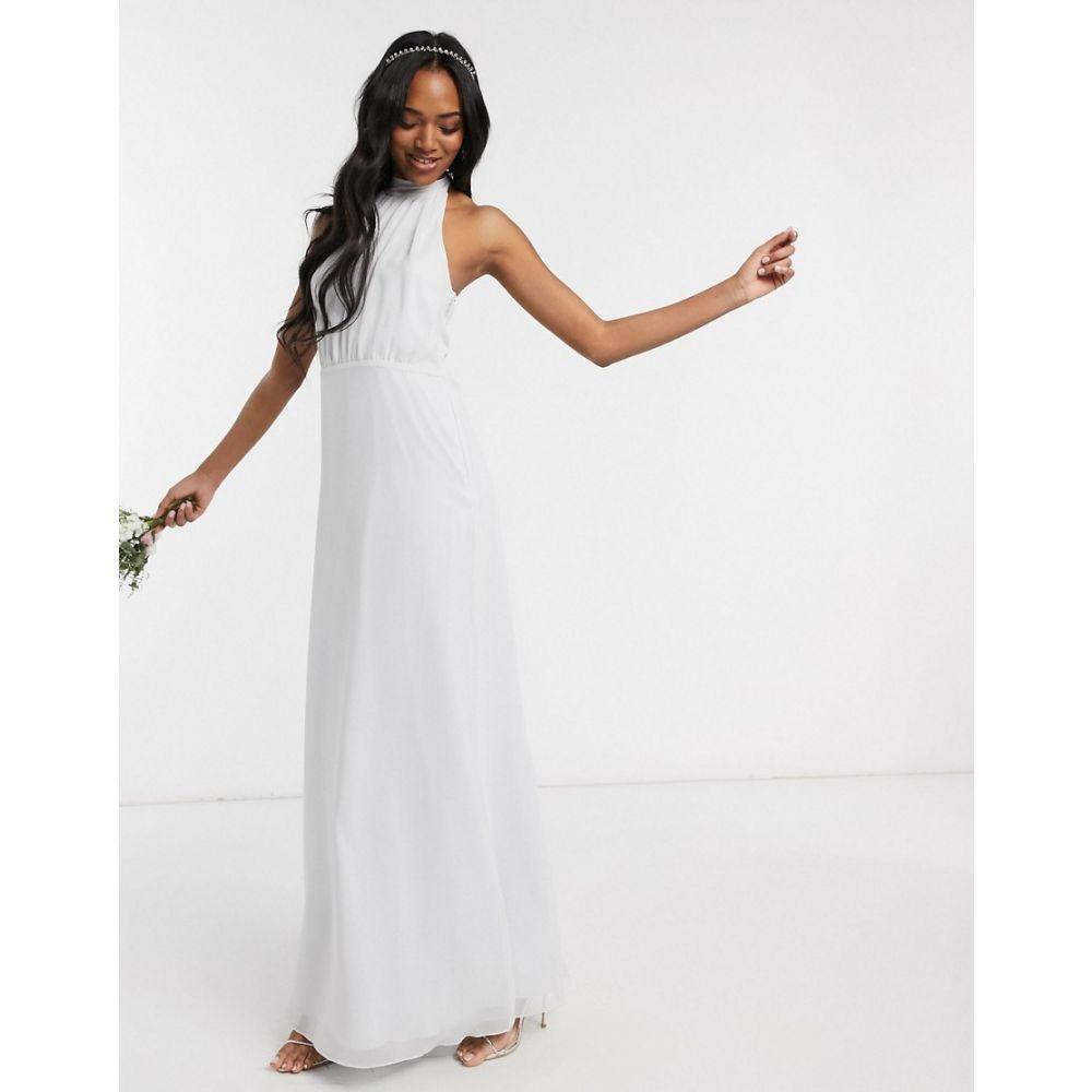メイドトゥーメジャー Maids to Measure レディース ワンピース マキシ丈 ワンピース・ドレス【bridesmaid high neck maxi dress in chiffon】Dove grey