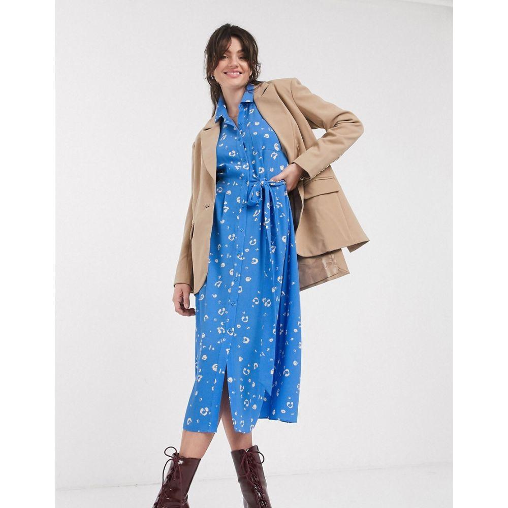ホイッスルズ Whistles レディース ワンピース シャツワンピース ワンピース・ドレス【watercolour animal side tie midi shirt dress in blue】Blu/multi