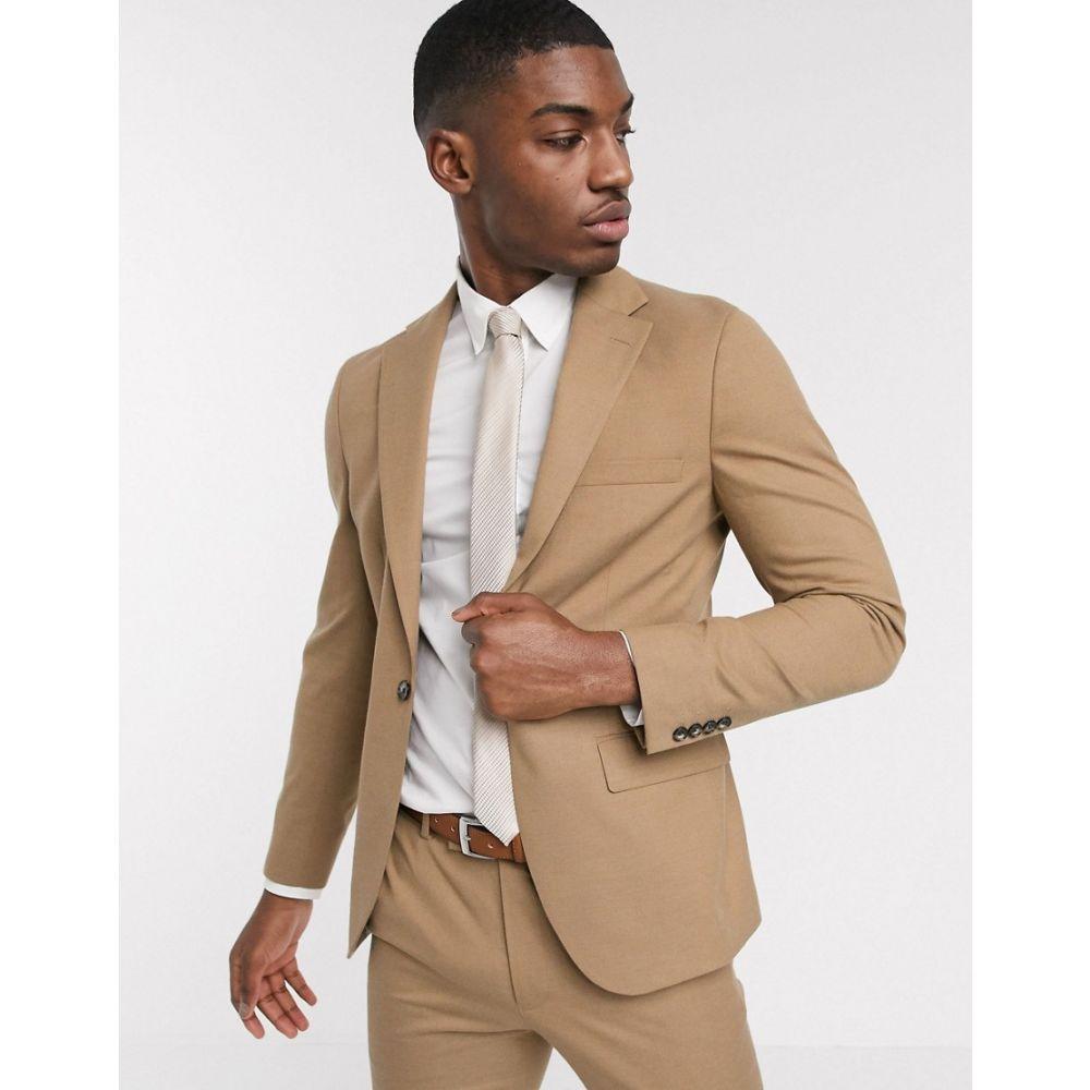 モス ブラザーズ MOSS BROS メンズ スーツ・ジャケット アウター【Moss London slim fit suit jacket in camel】Cream