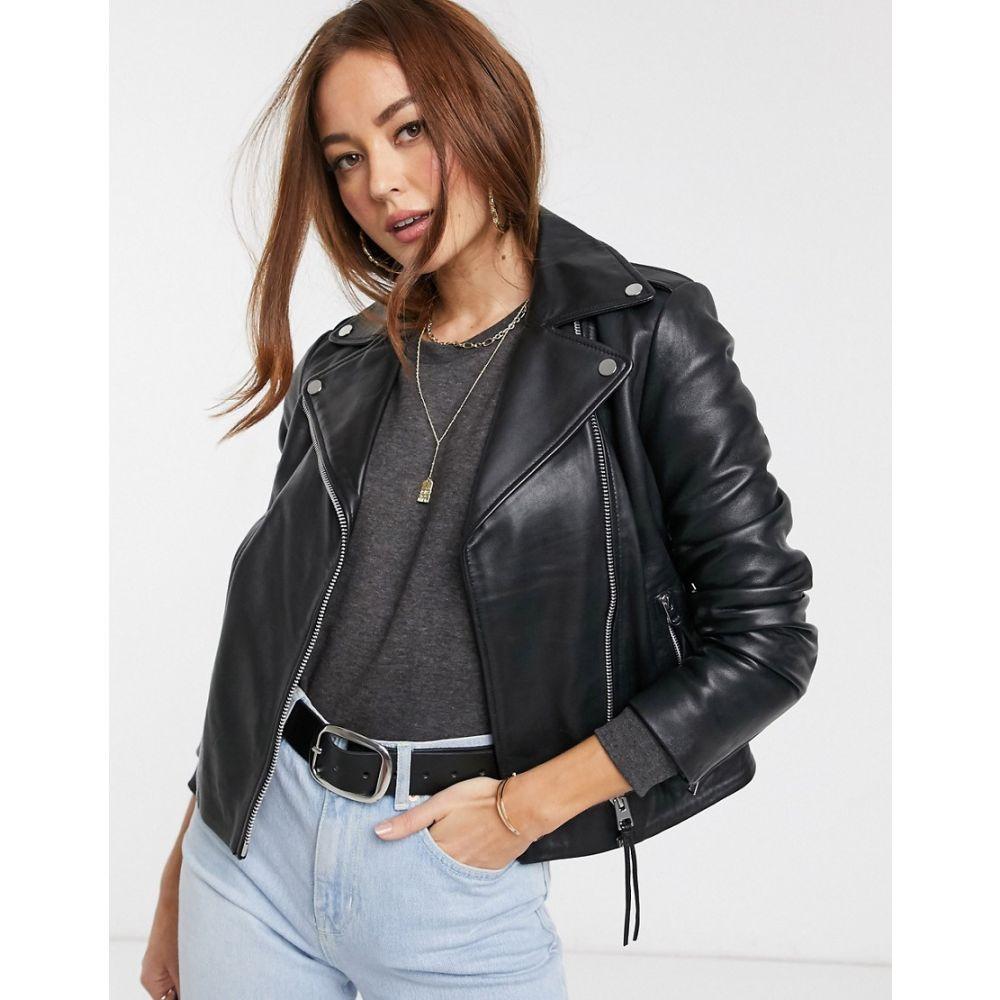 マンゴ Mango レディース レザージャケット ライダース アウター【leather biker jacket in black】Black