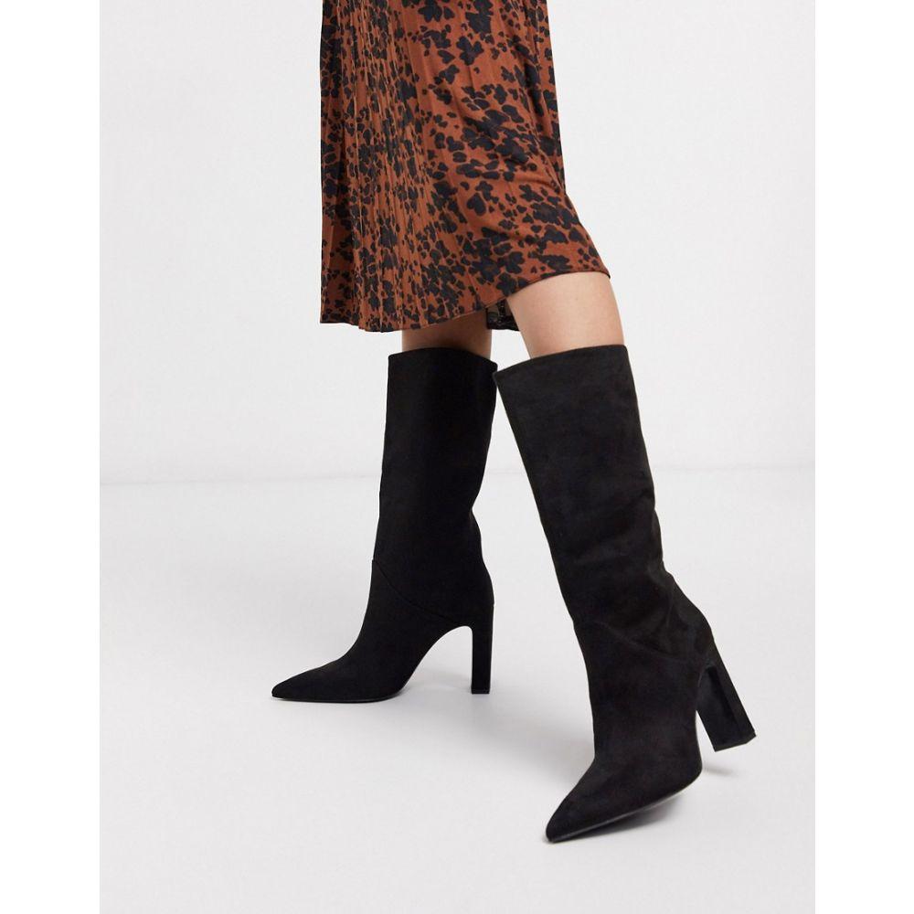 マンゴ Mango レディース ブーツ シューズ・靴【faux suede knee high boots in black】Black