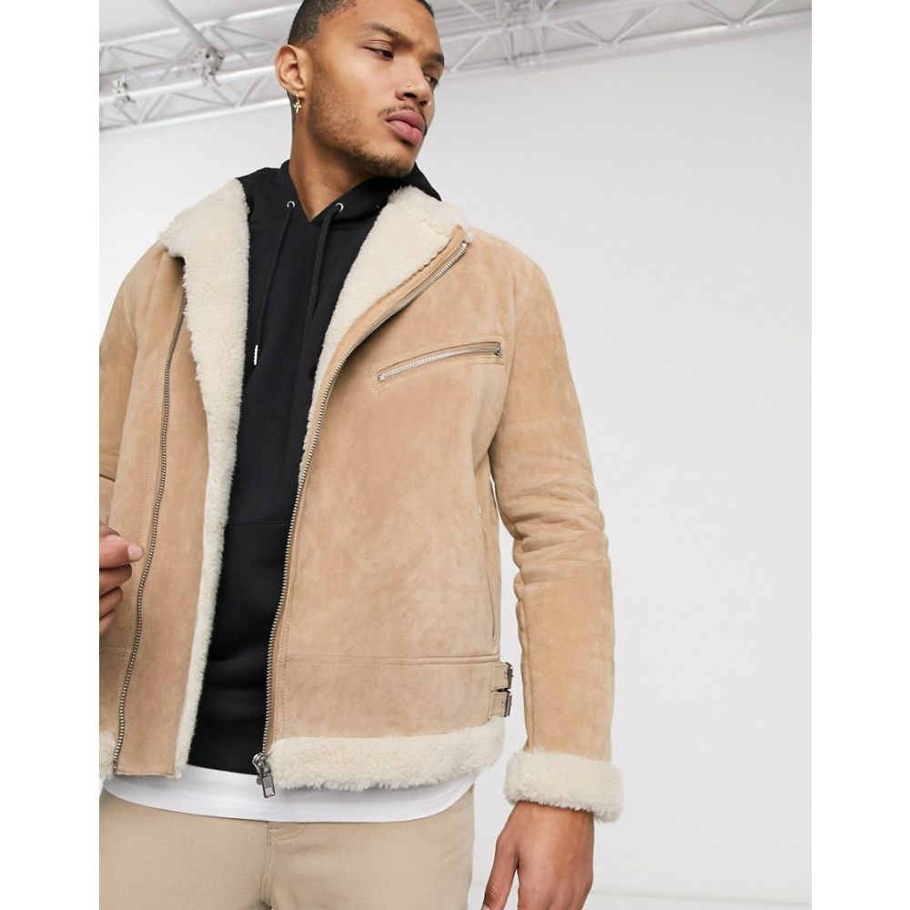 エイソス ASOS DESIGN メンズ レザージャケット アウター【jacket in suede with teddy lining】Beige