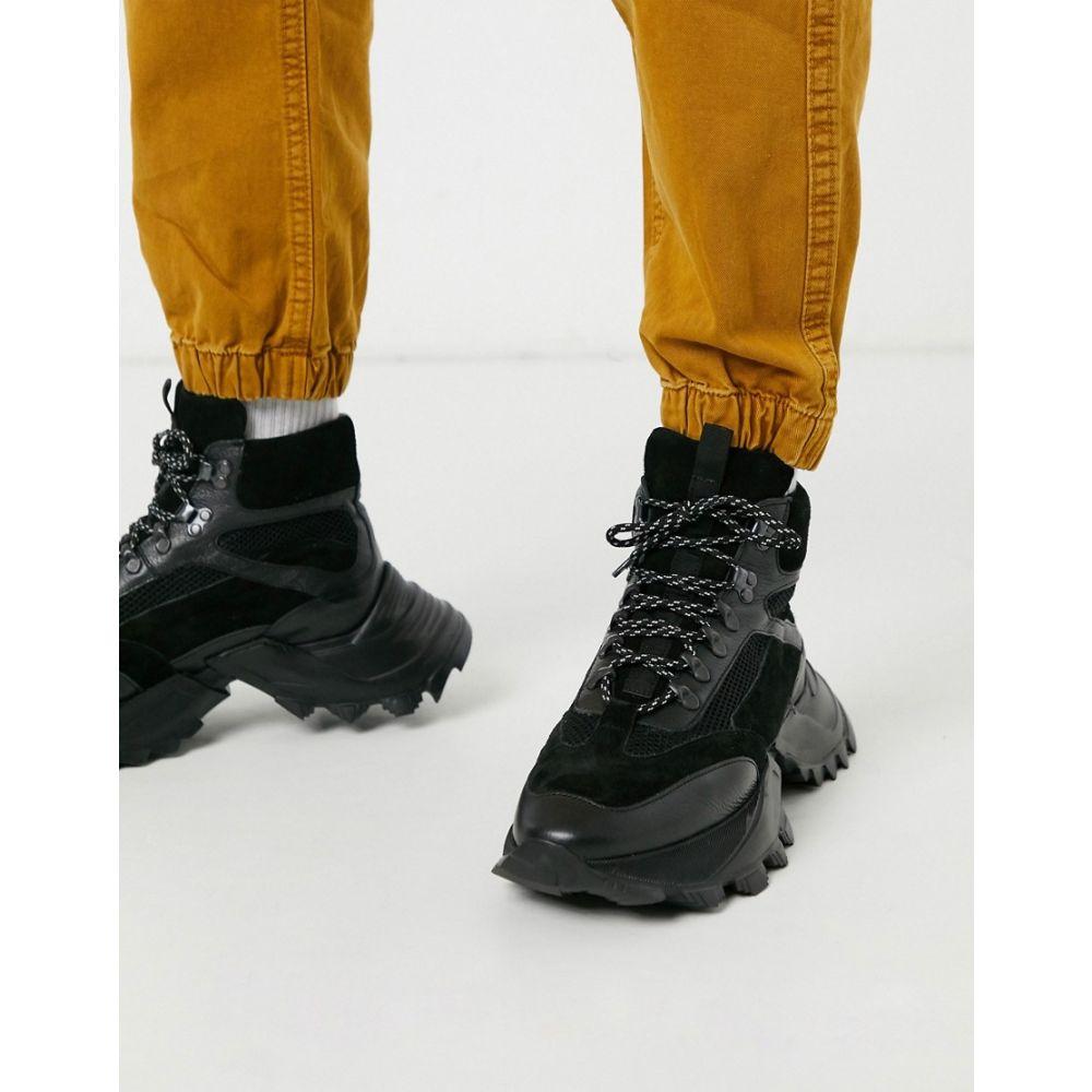 エイソス ASOS EDITION メンズ スニーカー シューズ・靴【high top trainers in black leather】Black