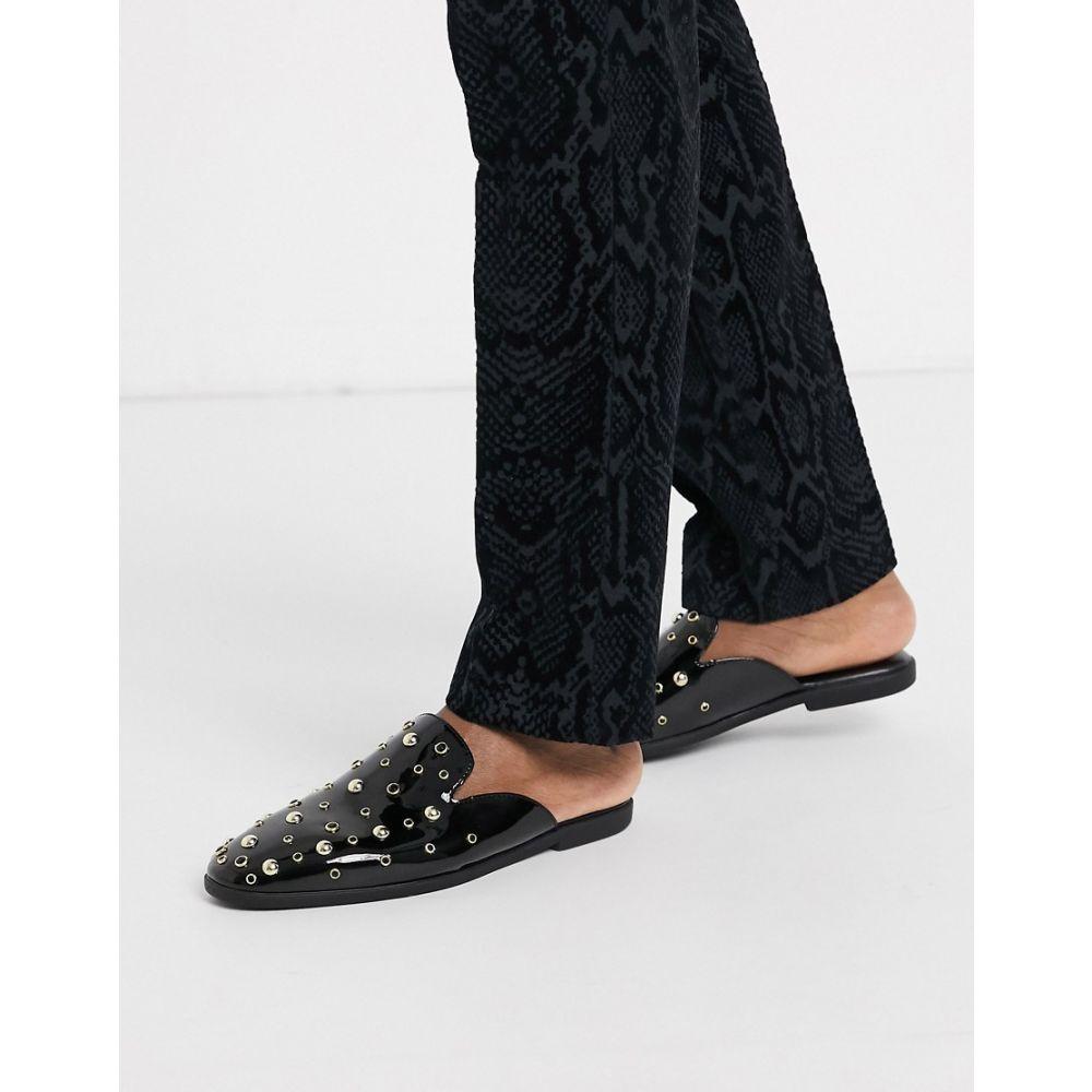 エイソス ASOS DESIGN メンズ ローファー シューズ・靴【backless mule loafers in faux leather with gold stud detail】Black