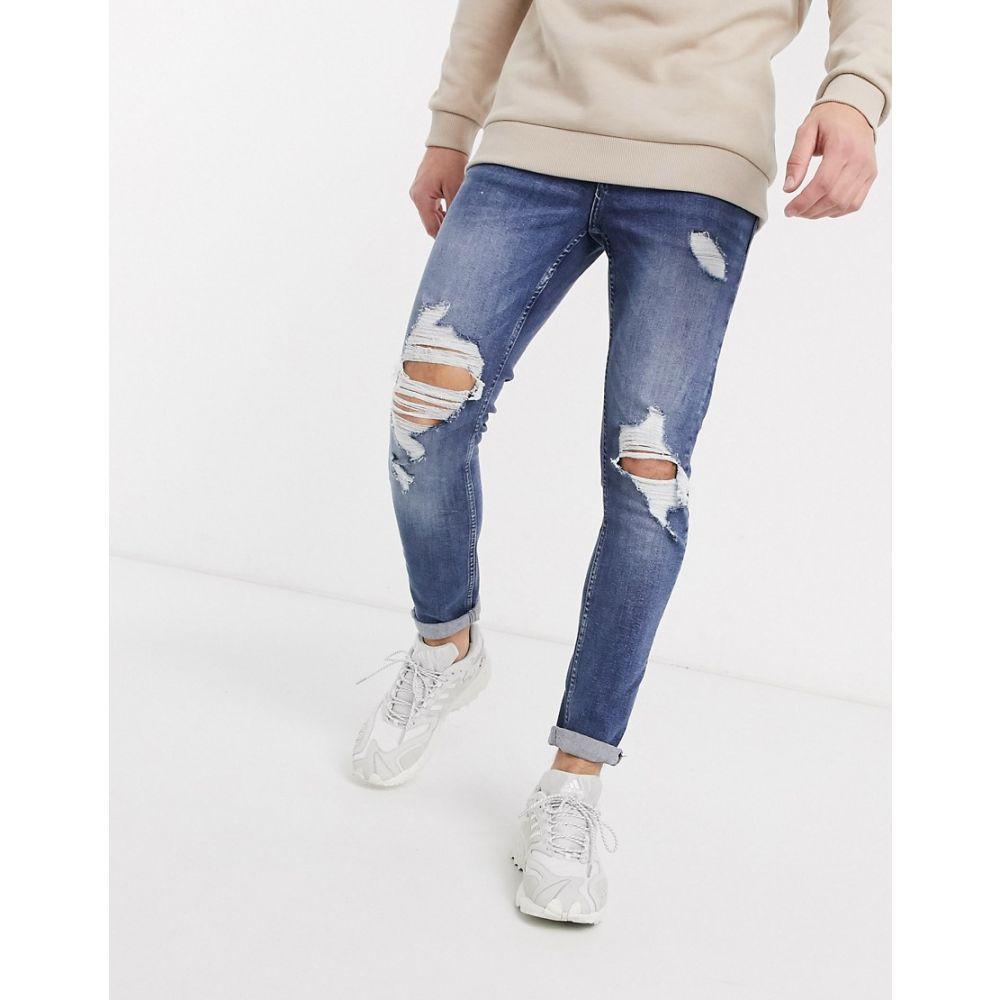 ニュールック New Look メンズ ジーンズ・デニム リップドジーンズ ボトムス・パンツ【skinny ripped jeans in mid blue】Mid blue