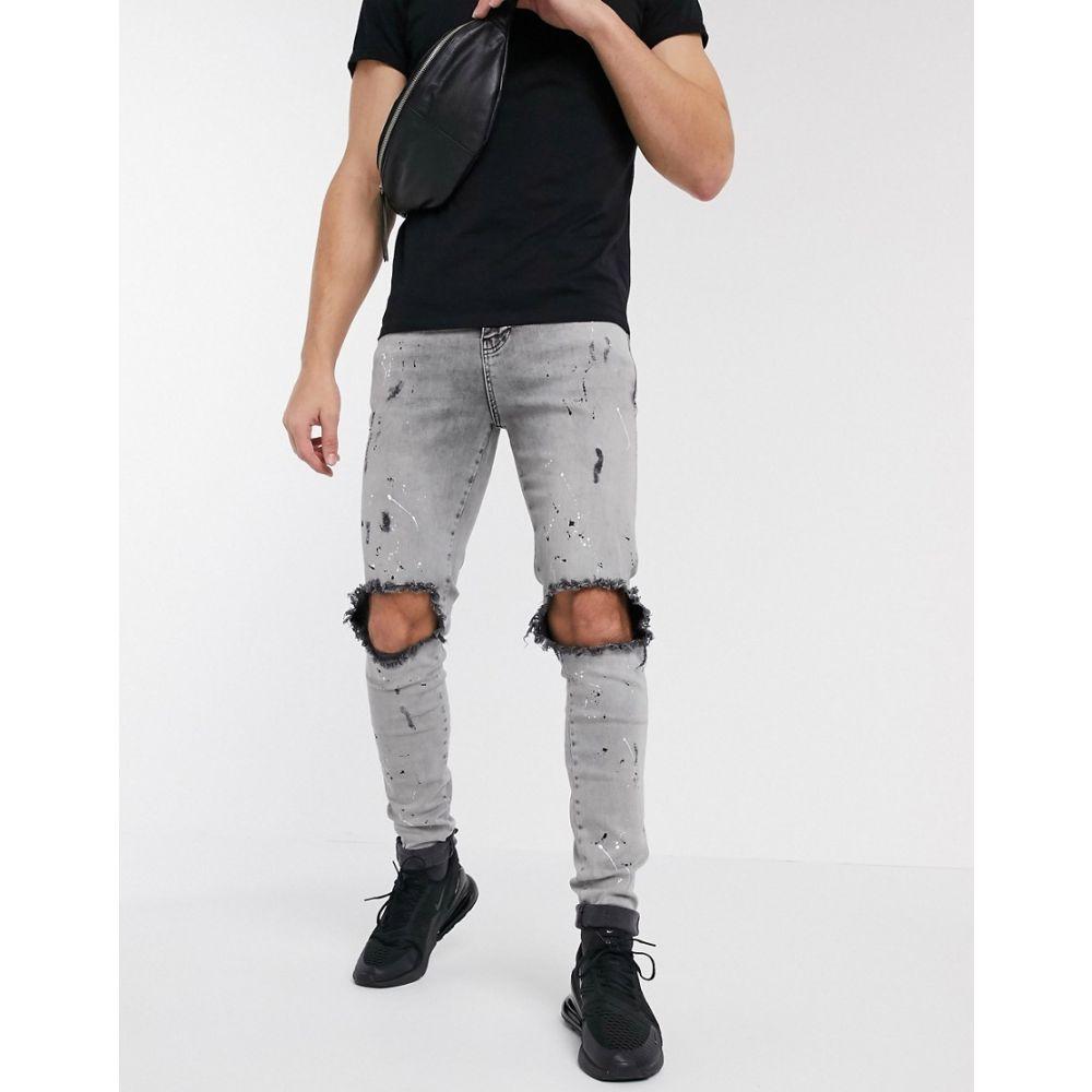 シックシルク SikSilk メンズ ジーンズ・デニム ボトムス・パンツ【skinny jeans with paint splat and knee rips in grey】Grey