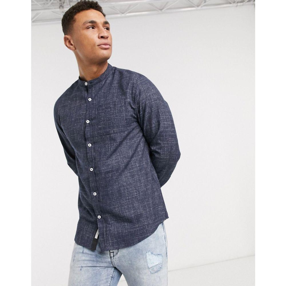 リバーアイランド River Island メンズ シャツ トップス【long sleeve shirt with grandad collar in navy】Navy