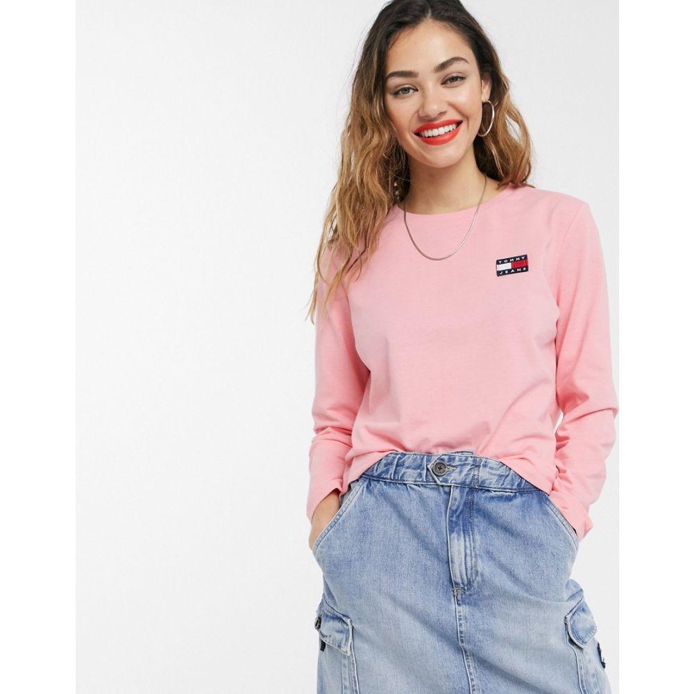 トミー ジーンズ Tommy Jeans レディース 長袖Tシャツ トップス【recycled badge long sleeve t-shirt in pink】Pink icing