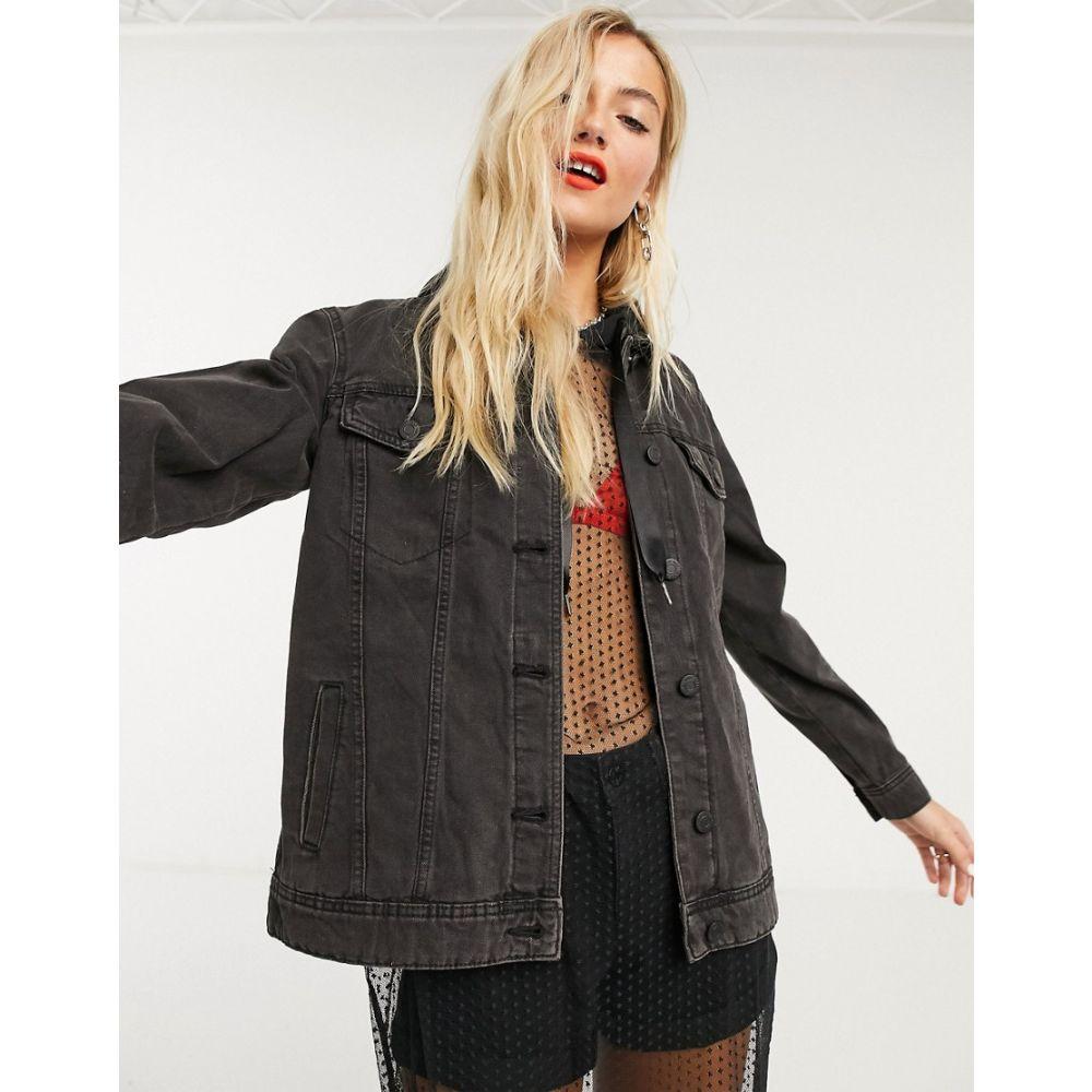 ノイズィーメイ Noisy May レディース ジャケット Gジャン アウター【oversized denim jacket in black】Black