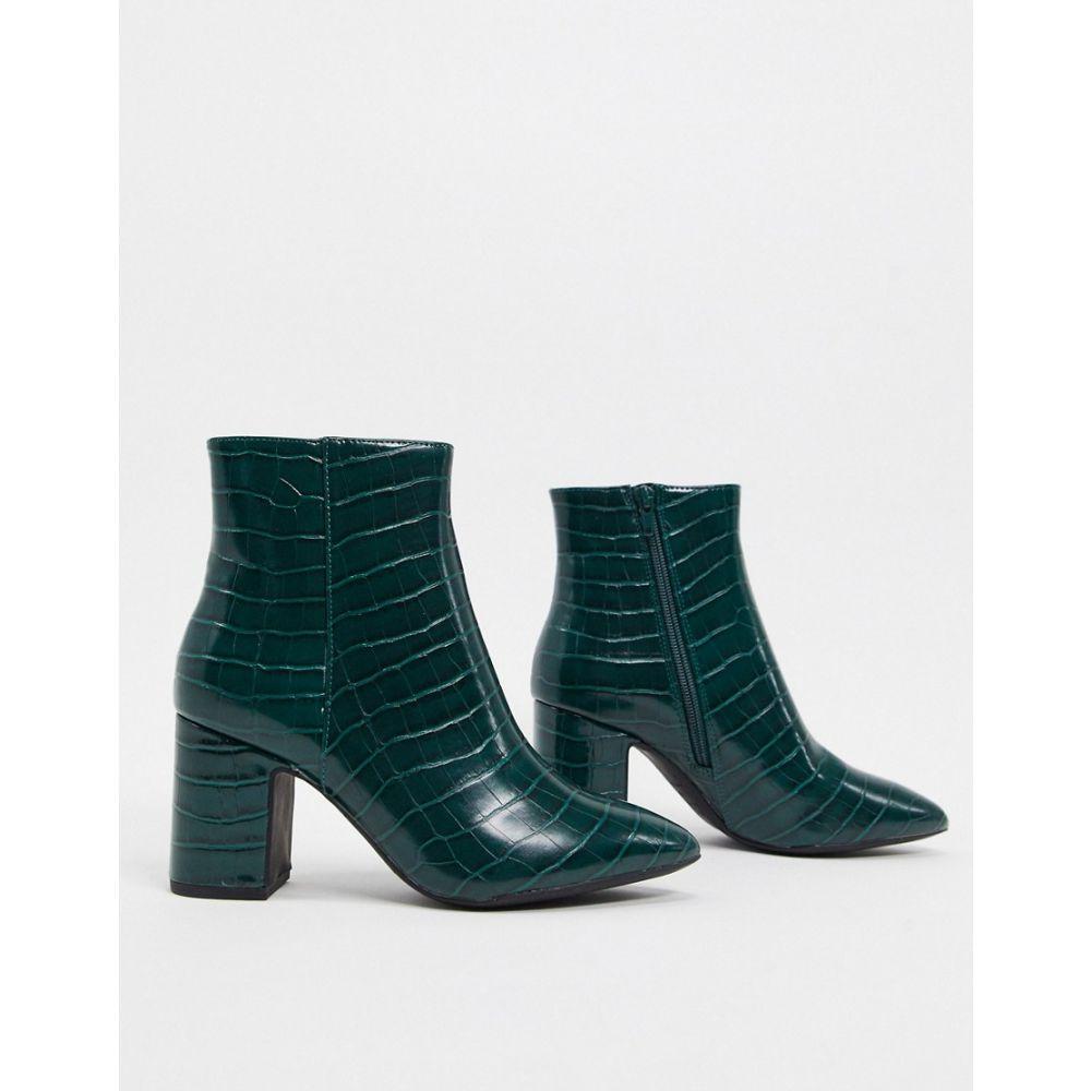 ニュールック New Look レディース ブーツ シューズ・靴【croc pointed heeled boots in green】Green