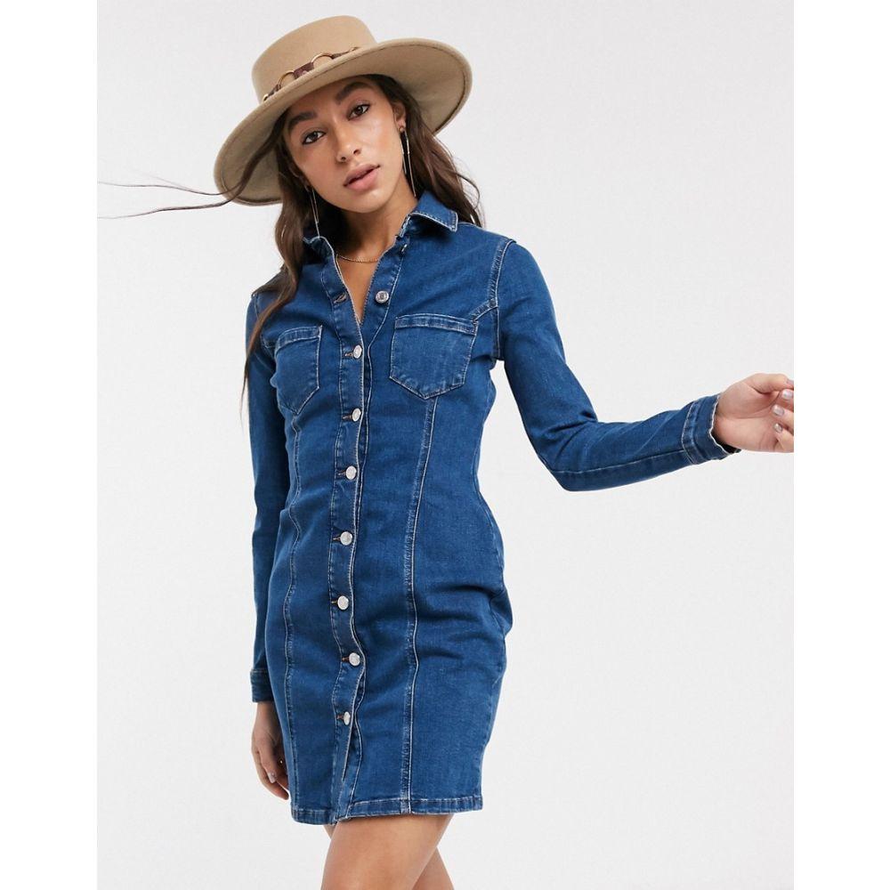 トップショップ Topshop レディース ワンピース デニム ミニ丈 ワンピース・ドレス【button through denim mini dress in blue】Blue