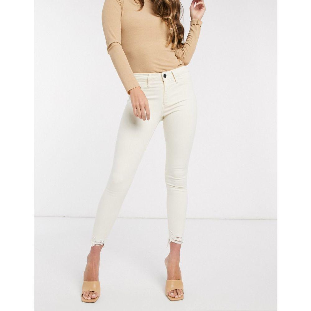 リバーアイランド River Island レディース ジーンズ・デニム ボトムス・パンツ【Molly mid rise chewed hem skinny jeans in ecru】Off white