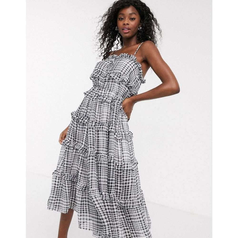カメオ C/meo Collective レディース ワンピース ティアードドレス ワンピース・ドレス【C/Meo Collective Stealing Sunshine tiered ruffle check midi dress in black check】Black check