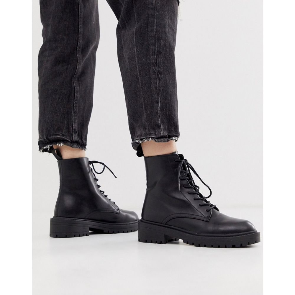 レイド Raid レディース ブーツ レースアップブーツ シューズ・靴【RAID Exclusive Micah black lace up flat boots】Black pu