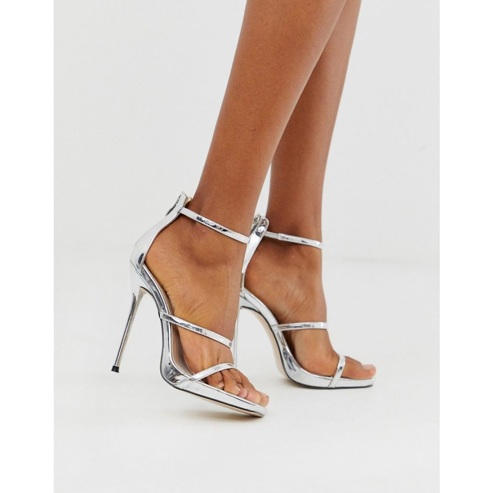 パブリックディザイア Public Desire レディース サンダル・ミュール ピンヒール シューズ・靴【Paris stiletto sandal in silver metallilc】Silver metallic
