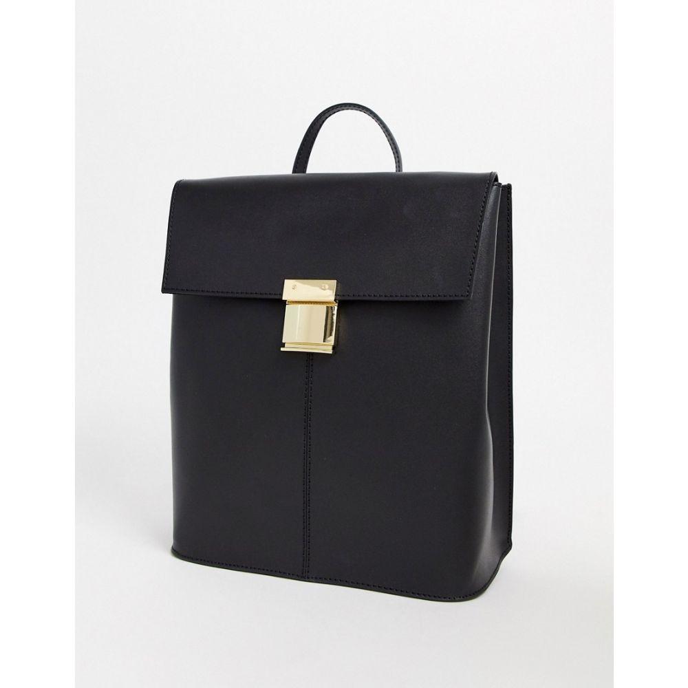エイソス ASOS DESIGN レディース バックパック・リュック バッグ【leather pushlock backpack】Black