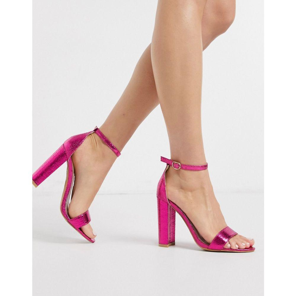 グラマラス Glamorous レディース ヒール シューズ・靴【barely there block heels in pink metallic】Fuchsia mf