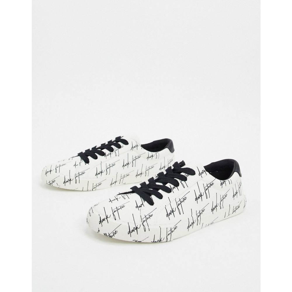 エイソス ASOS DESIGN メンズ スニーカー シューズ・靴【trainers in white with dark future print】White