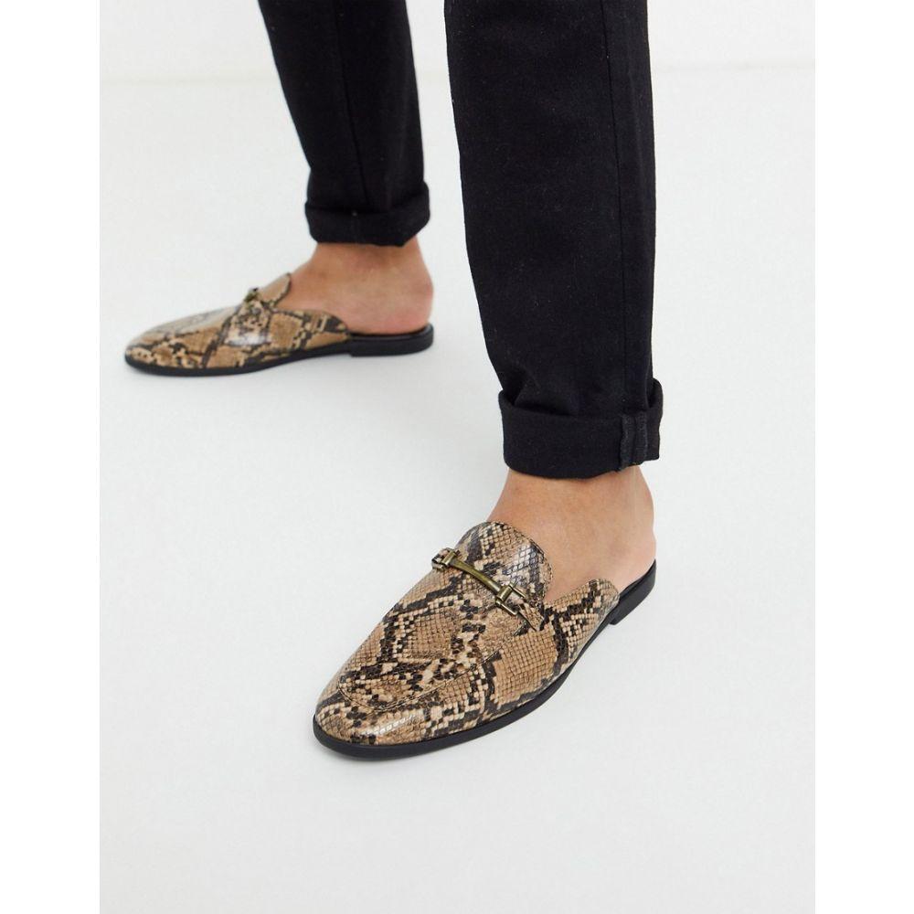 エイソス ASOS DESIGN メンズ ローファー シューズ・靴【backless mule loafer in brown snake faux leather】Brown