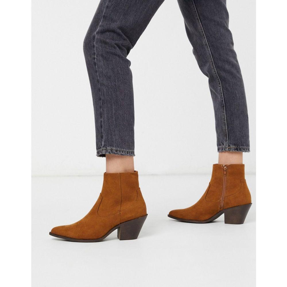 ニュールック New Look レディース ブーツ ウェスタンブーツ シューズ・靴【western heeled boots in tan】Tan