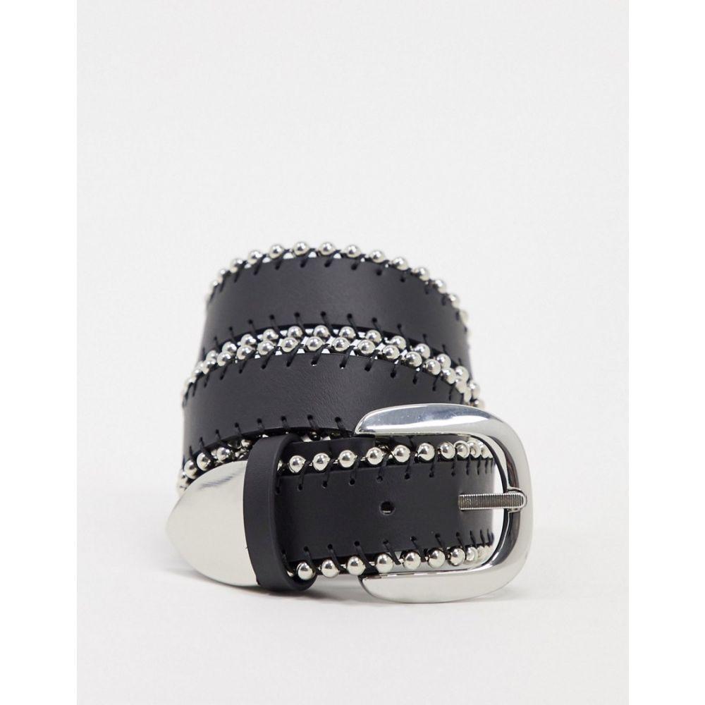 エイソス ASOS DESIGN レディース ベルトball edge jeans belt with tip in black BlackeWEH9YDI2