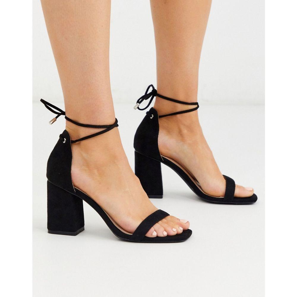 レイド Raid レディース サンダル・ミュール シューズ・靴【RAID Fraser block heel sandals with ankle ties in black】Black suede