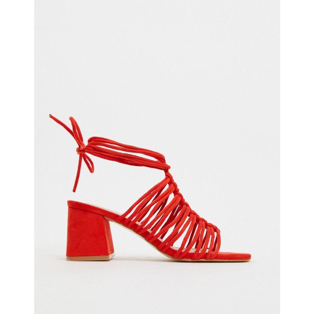 パブリックディザイア Public Desire レディース サンダル・ミュール シューズ・靴【Bali ankle tie block heel sandal in red】Red mf