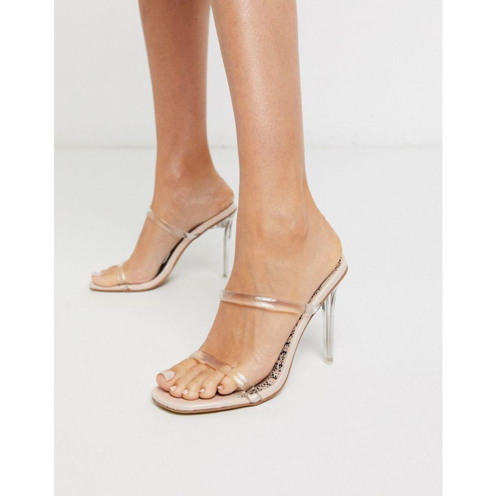 パブリックディザイア Public Desire レディース サンダル・ミュール ピンヒール シューズ・靴【Prosecco clear stiletto heel mule sandal in beige patent】Beige patent