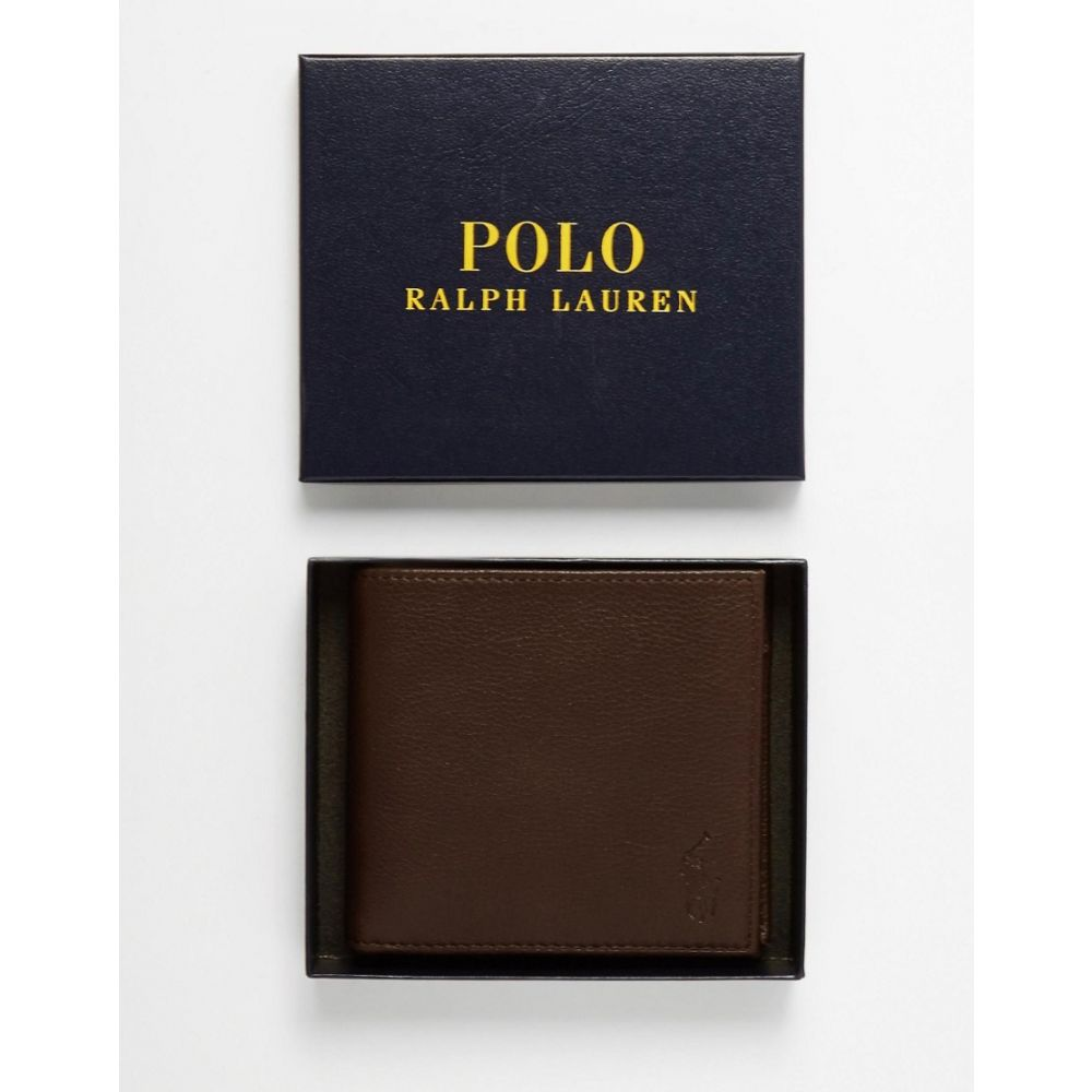 ラルフ ローレン Polo Ralph Lauren メンズ 財布 二つ折り【leather billfold wallet with coin pocket】Brown