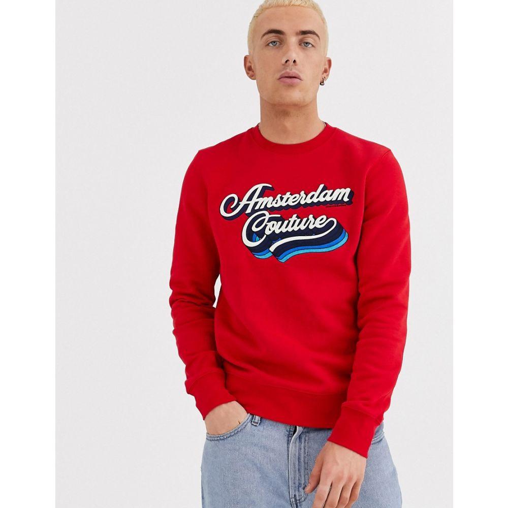 スコッチ&ソーダ Scotch & Soda メンズ スウェット・トレーナー トップス【front print crew neck sweatshirt】Red