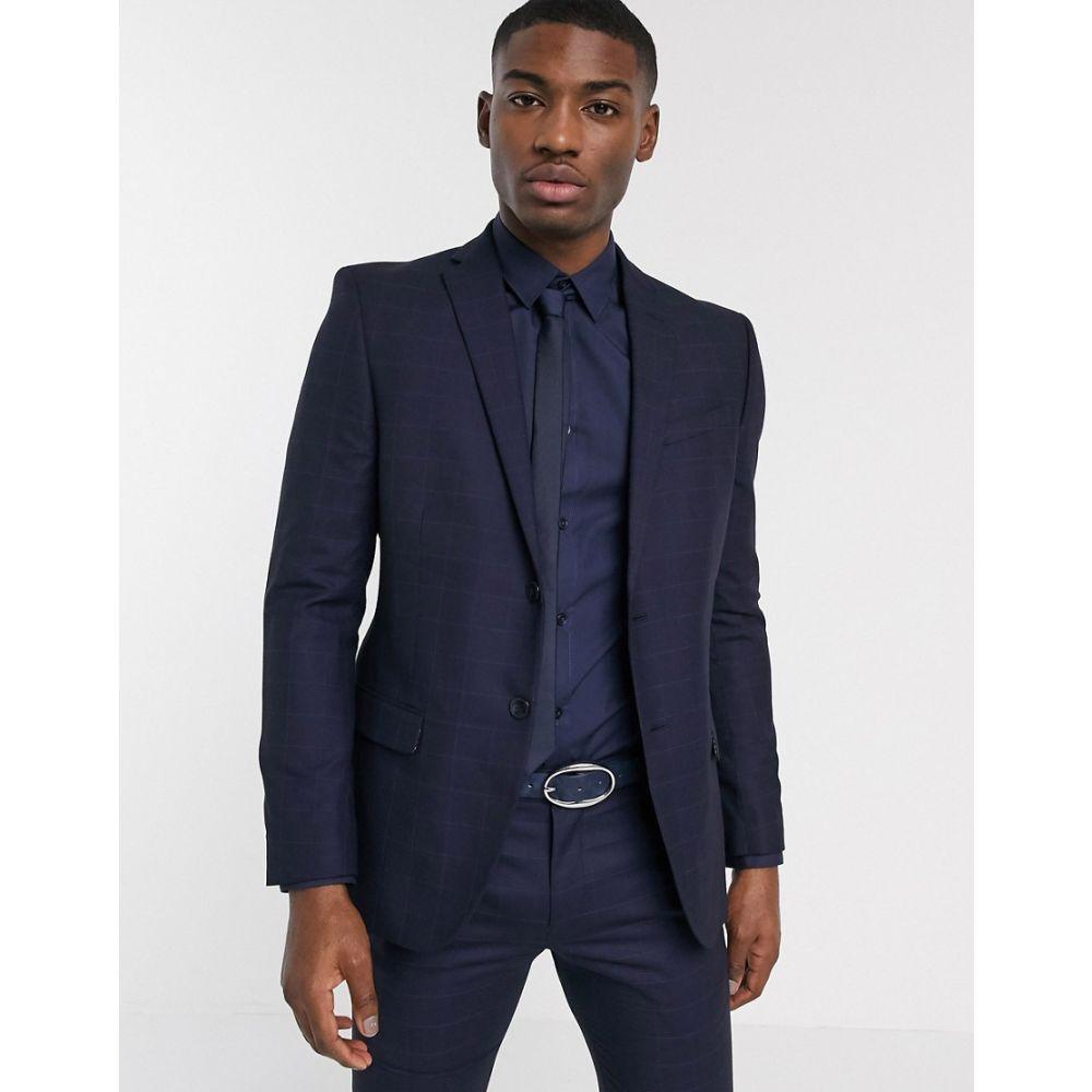 ベンシャーマン Ben Sherman メンズ スーツ・ジャケット アウター【navy plain slim fit suit jacket】Navy