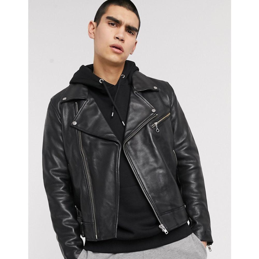 ウィークデイ Weekday メンズ レザージャケット ライダース アウター【biker leather jacket】Black
