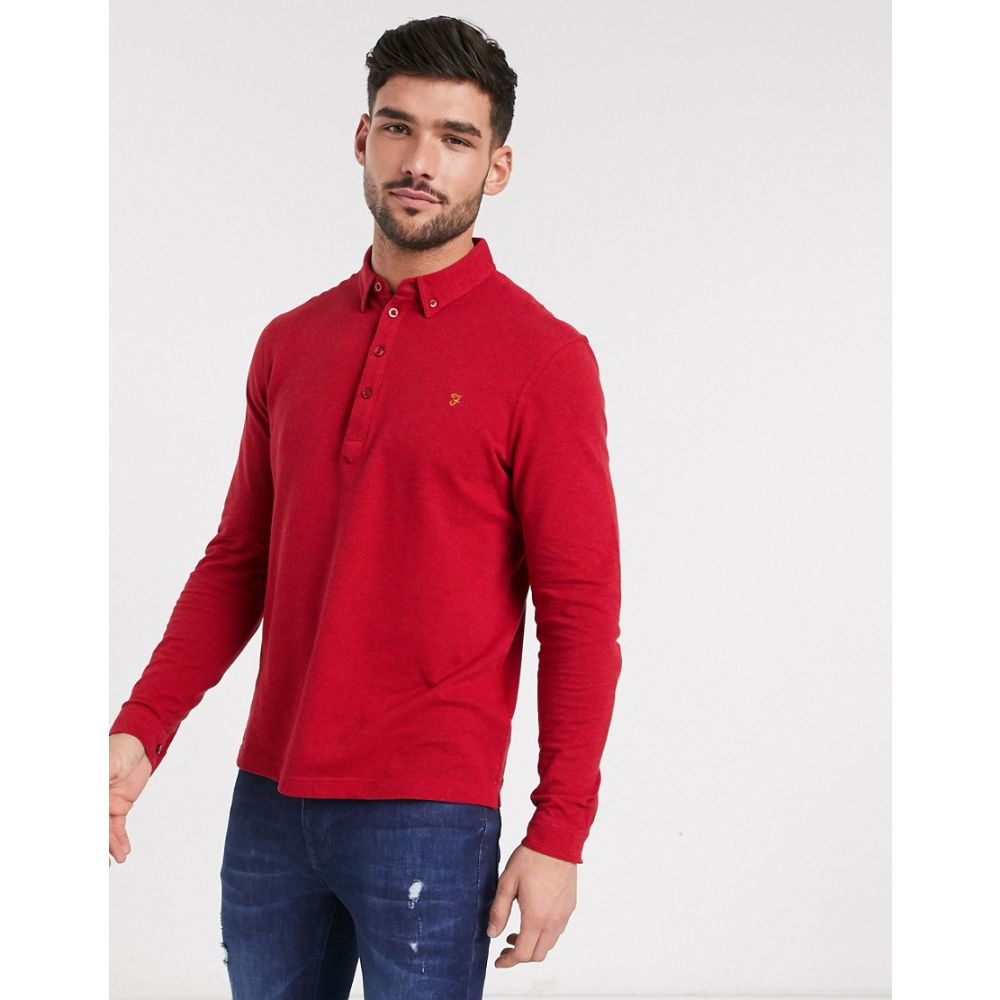 ファーラー Farah メンズ ポロシャツ トップス【Merriweather long sleeve polo shirt】Red
