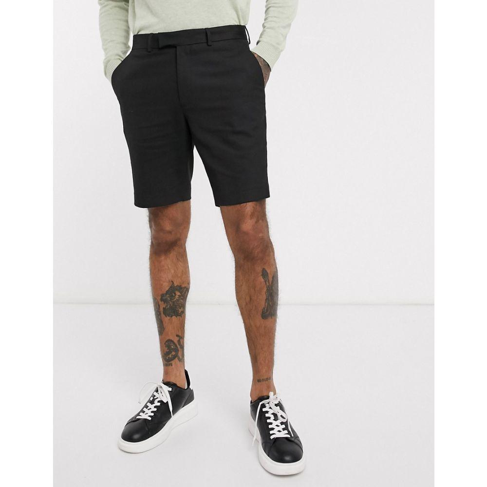 エイソス ASOS DESIGN メンズ ショートパンツ ボトムス・パンツ slim mid length smart shorts in black BlackSpqMVGUz
