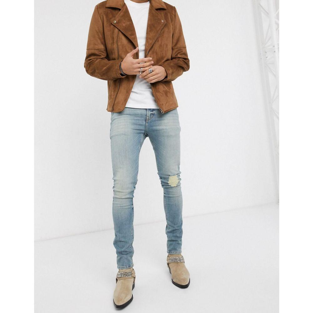 エイソス ASOS DESIGN メンズ ジーンズ・デニム ボトムス・パンツ【super skinny jeans 'honestly worn' in vintage light wash with knee rip】Light wash vintage