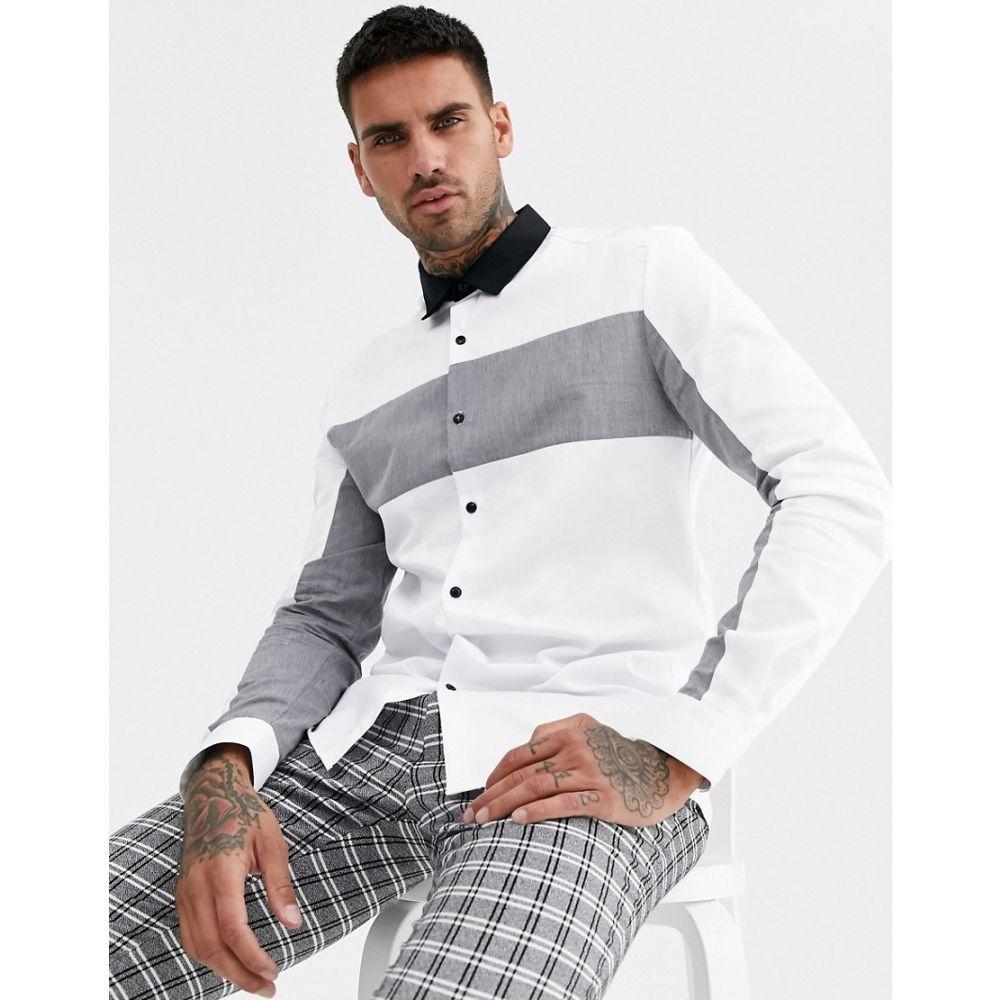 リバーアイランド River Island メンズ シャツ トップス【shirt in white & grey colour blocking】White