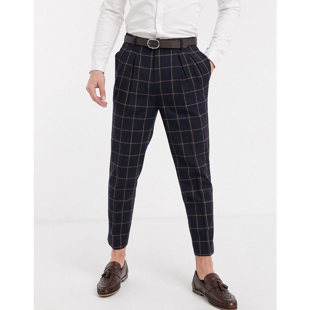 エイソス ASOS DESIGN メンズ スラックス ボトムス・パンツ【smart tapered trousers in navy wool mix check】Navy