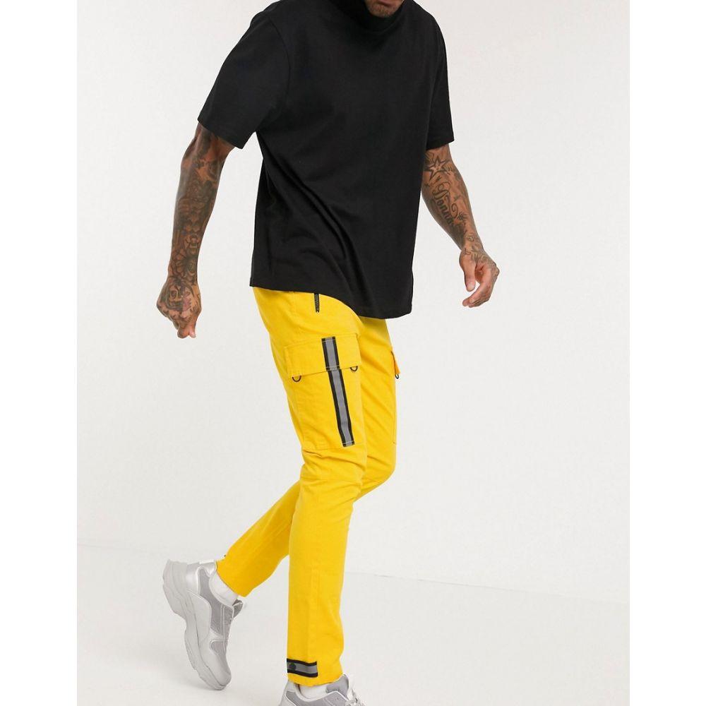 エイソス ASOS DESIGN メンズ カーゴパンツ ボトムス・パンツ【skinny cargo trousers in yellow with reflective tape】Yellow