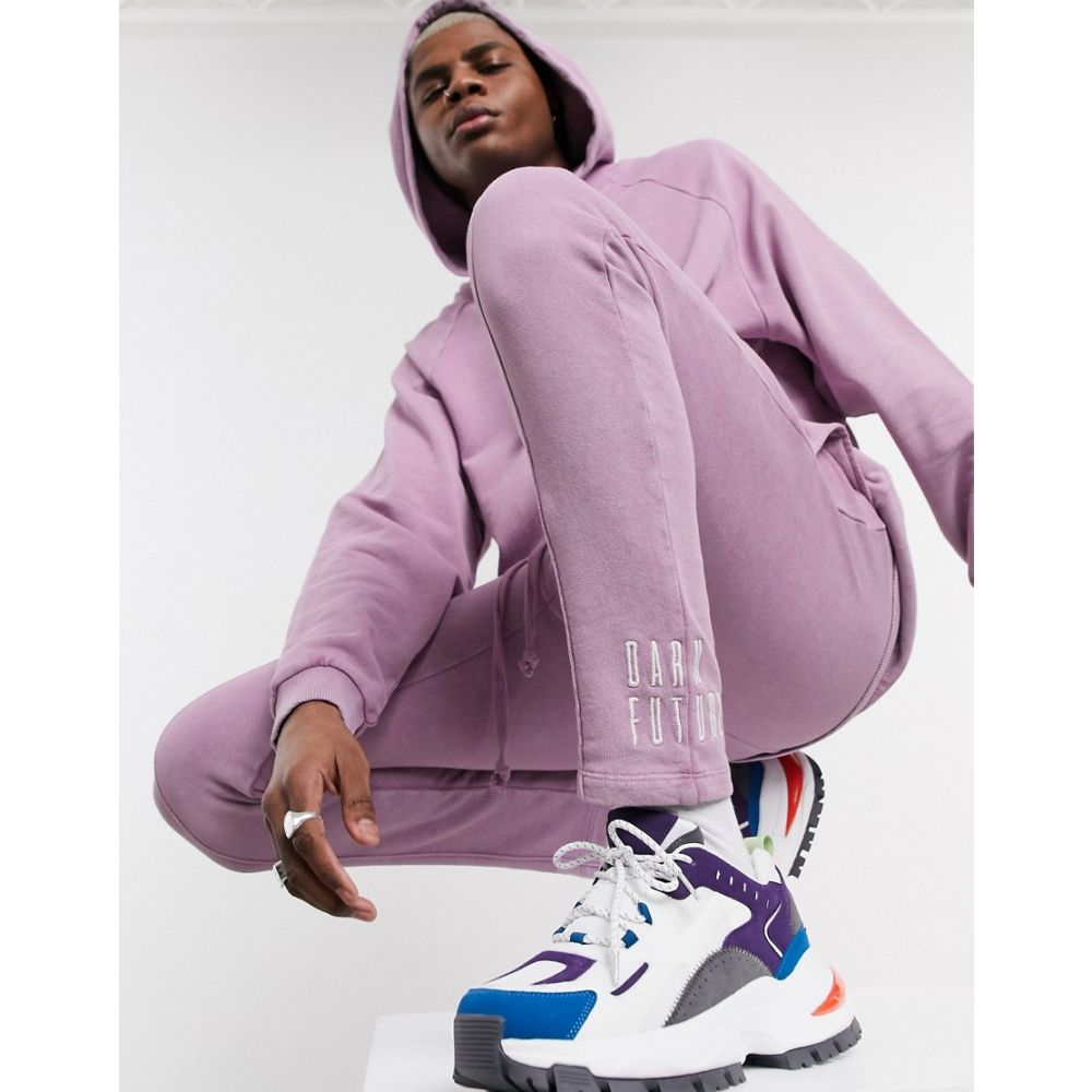 エイソス ASOS DESIGN メンズ ジョガーパンツ スキニー・スリム ボトムス・パンツ【co-ord skinny jogger in purple with dark future embroidery logo】Smoky grape