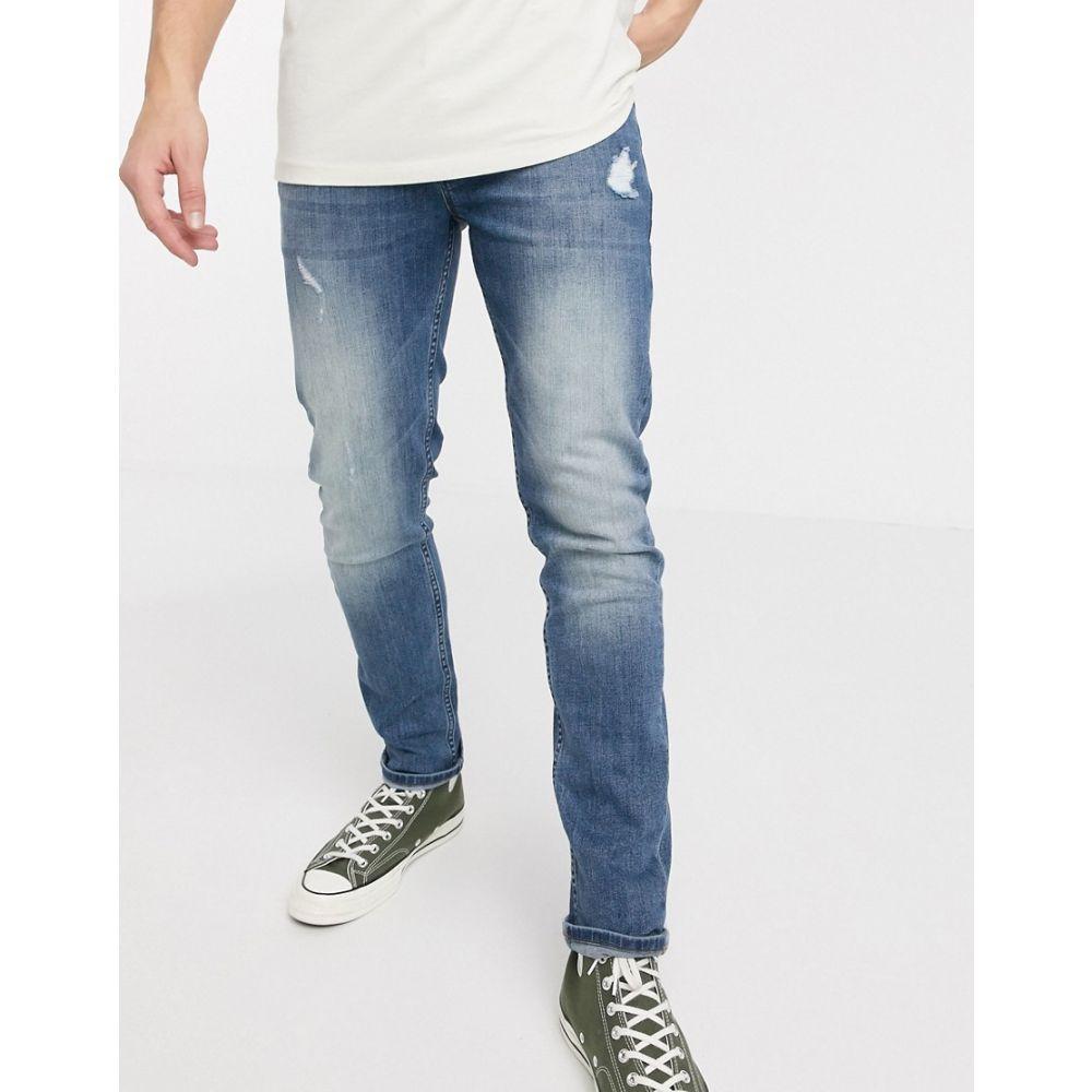 エイソス ASOS DESIGN メンズ ジーンズ・デニム ボトムス・パンツ【skinny jeans in mid wash with abrasions】Mid wash blue
