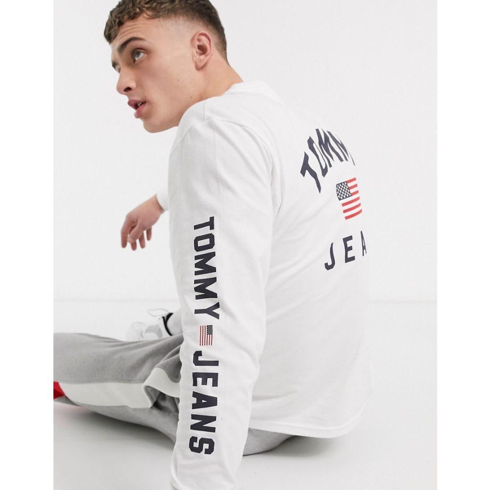 トミー ジーンズ Tommy Jeans メンズ 長袖Tシャツ トップス【americana long sleeve top in white with flag logo and sleeve detail】Classic whit