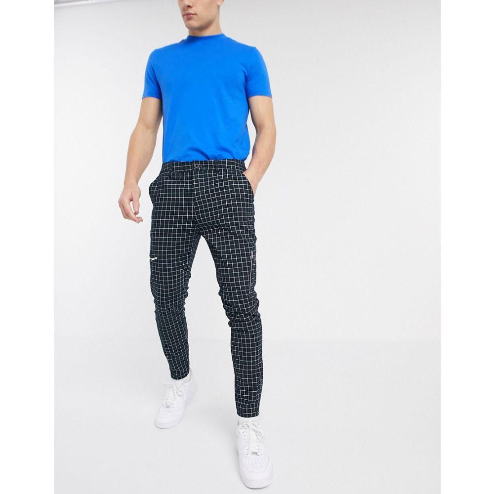 エイソス ASOS DESIGN メンズ スキニー・スリム ボトムス・パンツ【skinny check trousers with zip details in green】Green