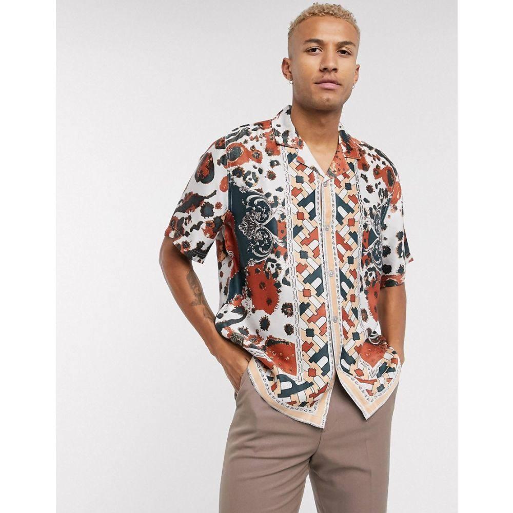 エイソス ASOS EDITION メンズ シャツ トップス【geometric print shirt in border print】Burgundy