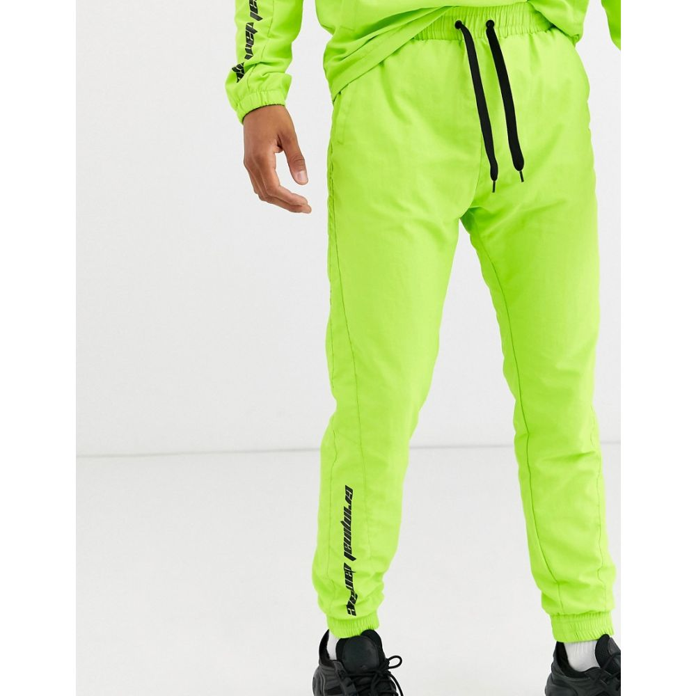 クリミナル Criminal Damage メンズ ジョガーパンツ ボトムス・パンツ【co-ord nylon joggers in neon green with logo】Green