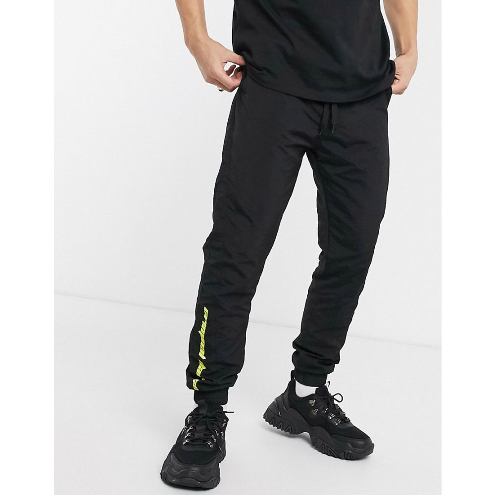 クリミナル Criminal Damage メンズ ジョガーパンツ ボトムス・パンツ【nylon joggers in black with neon logo】Black