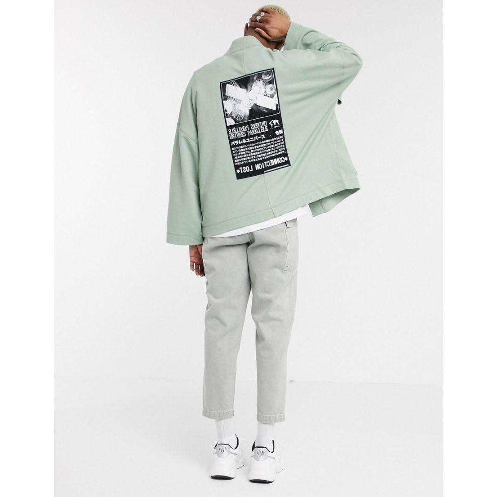 エイソス ASOS DESIGN メンズ カーディガン トップス【jersey kimono cardigan in green with multi placement print】Iceberg green