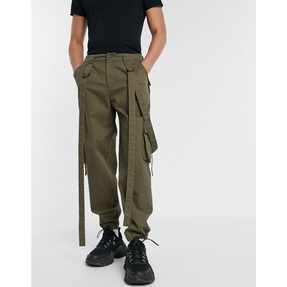 エイソス ASOS DESIGN メンズ カーゴパンツ ボトムス・パンツ【cargo trousers in khaki with strapping】Green